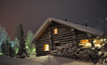 Log Cabin in Snow Wallpaper