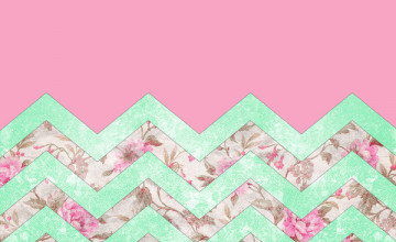 Mint Green and Pink Wallpaper