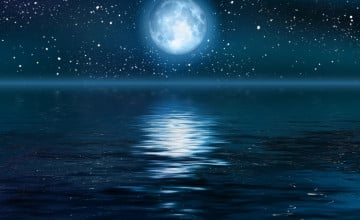 Moon Over Ocean Wallpaper