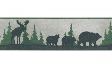 Moose and Bear Wallpaper Border