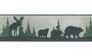Moose and Bear Wallpaper Border