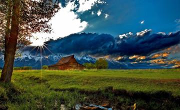 Mountain Cabin Desktop Wallpaper