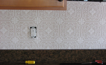 Paintable Wallpaper as Backsplash
