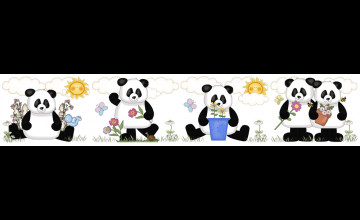 Panda Bear Wallpaper Border