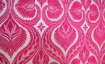 Pink Flocked Wallpaper