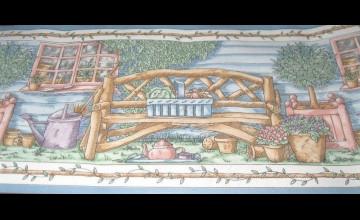Primitive Log Cabin Wallpaper Border