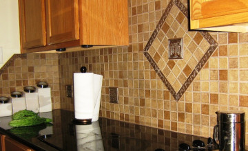 Raised Tile Wallpaper Kitchen Backsplash