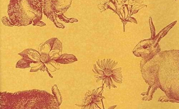Red and Yellow Toile Wallpaper