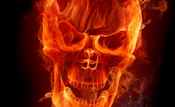 Red Flaming Skull Wallpaper