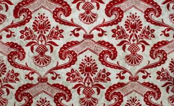 Red Flocked Damask Wallpaper