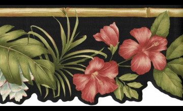 Red Hibiscus Wallpaper Border