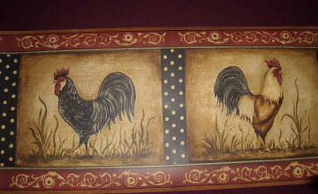 Red Rooster Wallpaper Border