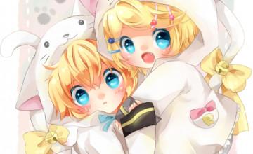 Rin and Len Wallpaper Chibi