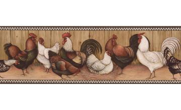 Rooster Wallpaper Border Prepasted