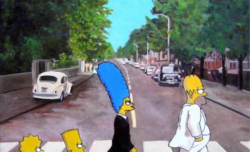 Simpsons Abbey Road Wallpaper