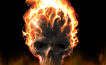 Skulls On Fire Wallpaper