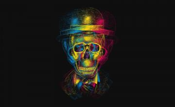 Skulls with Hats Wallpaper