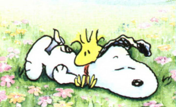 Snoopy Spring Desktop Wallpaper