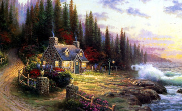 Thomas Kinkade Painting Wallpaper