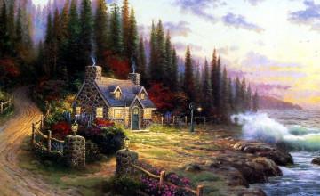 Thomas Kinkade Painting Wallpaper