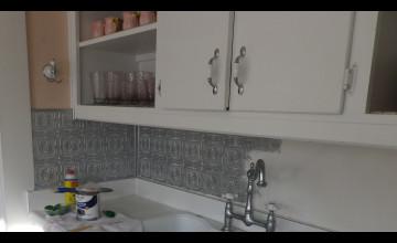 Tile Backsplash Over Wallpaper