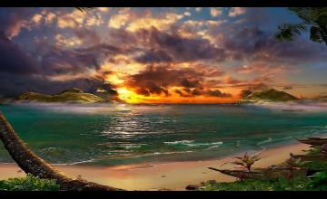Tropical Sunset Wallpaper Free