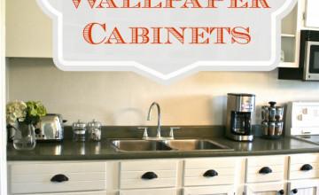 Using Beadboard Wallpaper on Cabinets