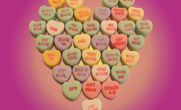 Valentine's Day Candy Hearts Wallpaper