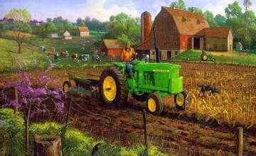 Vintage Farm Scene Wallpaper