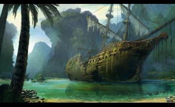 Vintage Pirate Ship Wallpaper