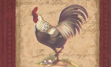 Vintage Rooster Wallpaper