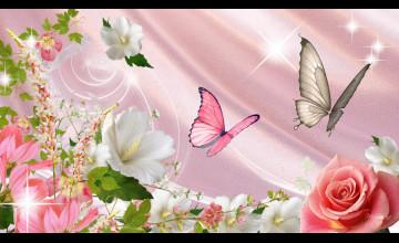 Wallpaper Butterflies and Flowers