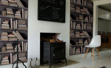 Wallpaper with Bookshelf Design
