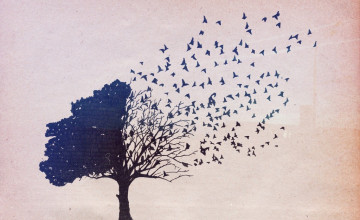 Wallpaper with Trees and Birds
