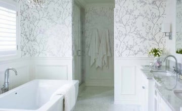 White and Silver Bathroom Wallpaper