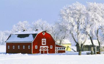Winter Barn Scenes Wallpaper