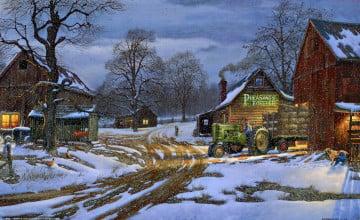 Winter Farm Wallpaper