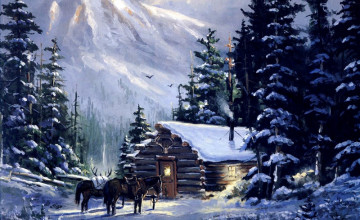 Winter Mountain Cabin Wallpaper