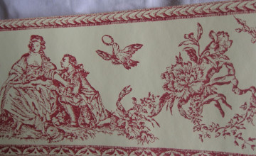 Yellow and Red Toile Wallpaper